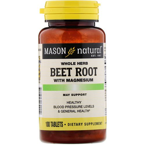 Mason Natural, Whole Herb Beet Root with Magnesium, 100 Tablets Review