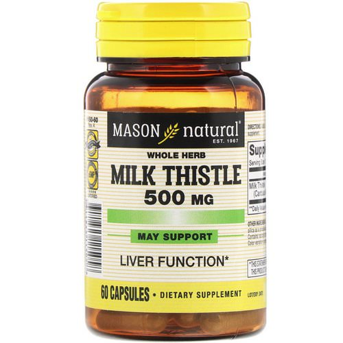Mason Natural, Whole Herb Milk Thistle, 500 mg, 60 Capsules Review