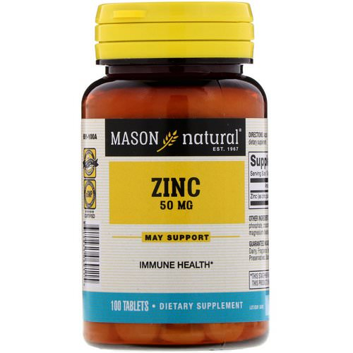 Mason Natural, Zinc, 50 mg, 100 Tablets Review