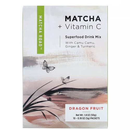 Matcha Road, Matcha + Vitamin C, Superfood Drink Mix, Dragonfruit, 10 Packets, 0.18 oz (5 g) Each Review