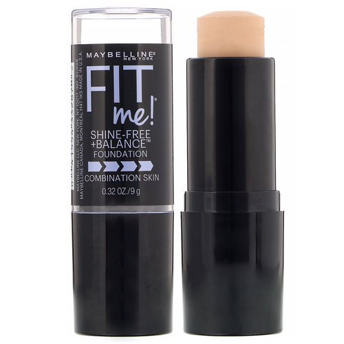 Maybelline, Fit Me, Shine-Free + Balance Stick Foundation, 115 Ivory, 0.32 oz (9 g) Review