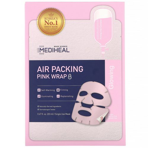 Mediheal, Air Packing, Pink Wrap Mask, 5 Sheets, 0.67 fl. oz (20 ml) Each Review