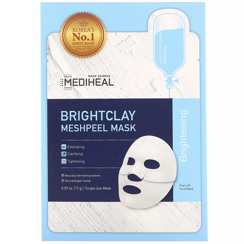 Mediheal, Brightclay, Meshpeel Mask, 5 Sheets, 0.59 oz (17 g) Each Review