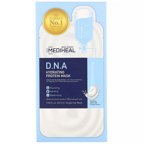 Mediheal, D.N.A Hydrating Protein Mask, 5 Sheets, 0.84 fl oz (25 ml) Each Review