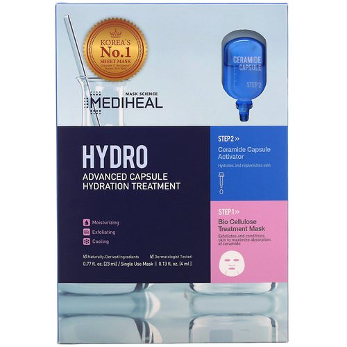 Mediheal, Hydro, Advanced Capsule Hydration Treatment Mask, 5 Sheets, 0.77 fl oz (23 ml) Each Review