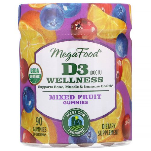 MegaFood, D3 Wellness, Mixed Fruit Gummies, 1000 IU, 90 Gummies Review