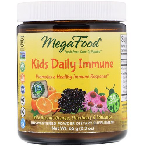 MegaFood, Kids Daily Immune, Unsweetened, 2.3 oz (66 g) Review