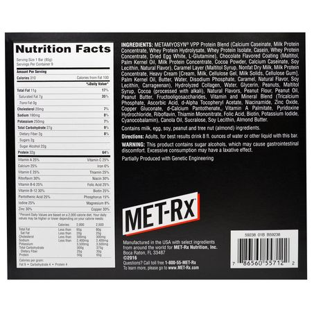 MET-Rx, Whey Protein Bars, Milk Protein Bars