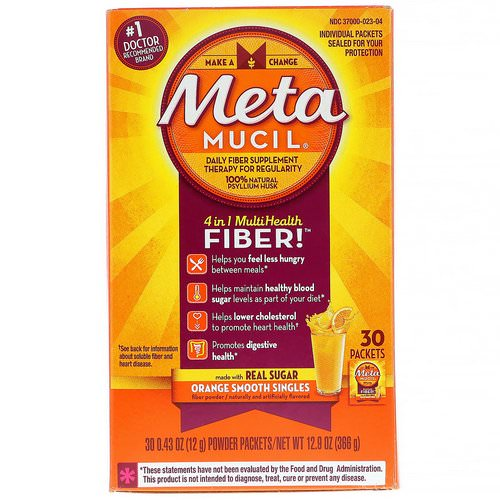 Metamucil, 4 in 1 MultiHealth Fiber, Orange Smooth Singles, 30 Packets, 0.43 oz (12 g) Each Review