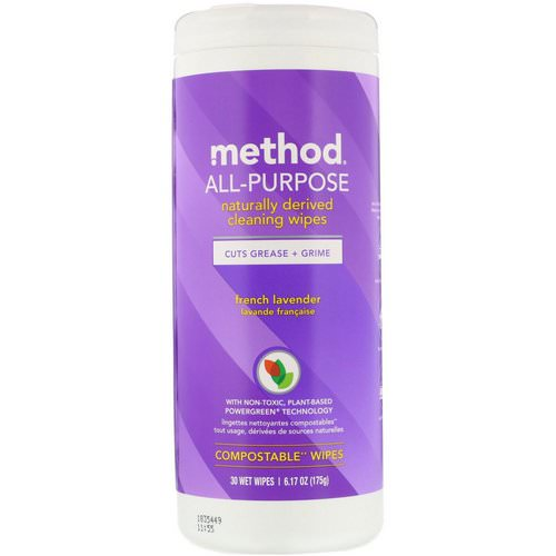 Method, All-Purpose, Naturally Derived Cleaning Wipes, French Lavender, 30 Wet Wipes Review