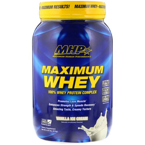 MHP, Maximum Whey, Vanilla Ice Cream, 2.02 lbs (915 g) Review