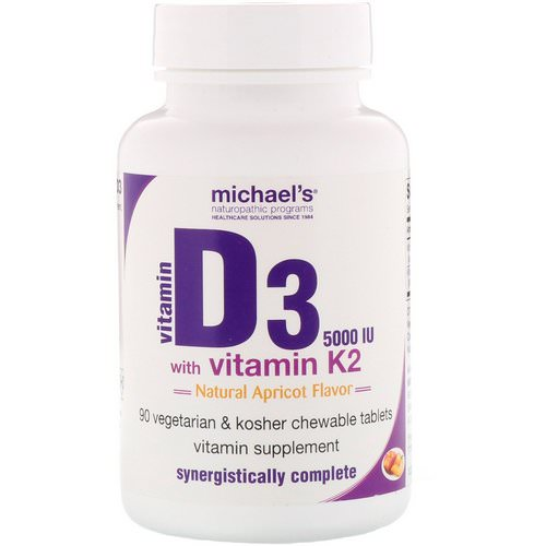 Michael's Naturopathic, Vitamin D3, with Vitamin K2, Natural Apricot Flavor, 5,000 IU, 90 Chewable Tablets Review