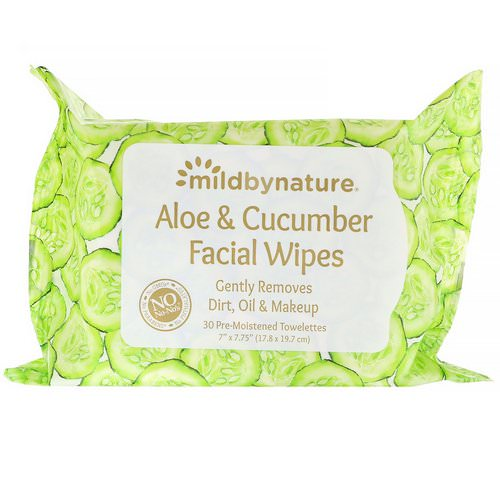 Mild By Nature, Aloe & Cucumber Facial Wipes, Biodegradable, 30 Pre-Moistened Towelettes Review