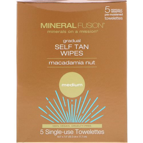 Mineral Fusion, Gradual Self Tan Wipes, Macadamia Nut, Medium, 5 Individually Wrapped Towelettes Review