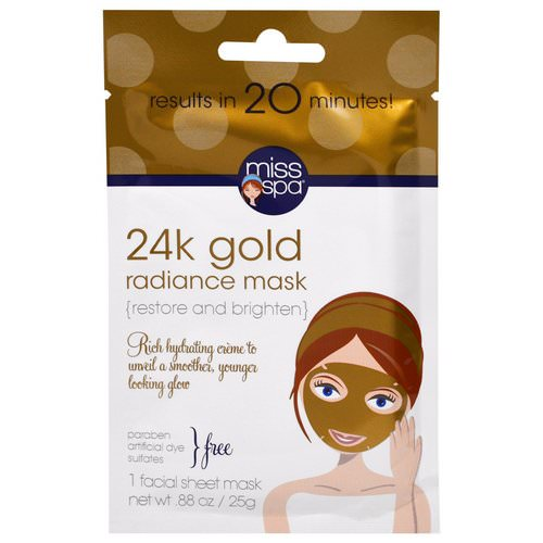 Miss Spa, 24k Gold Facial Sheet Mask, 1 Facial Mask Review