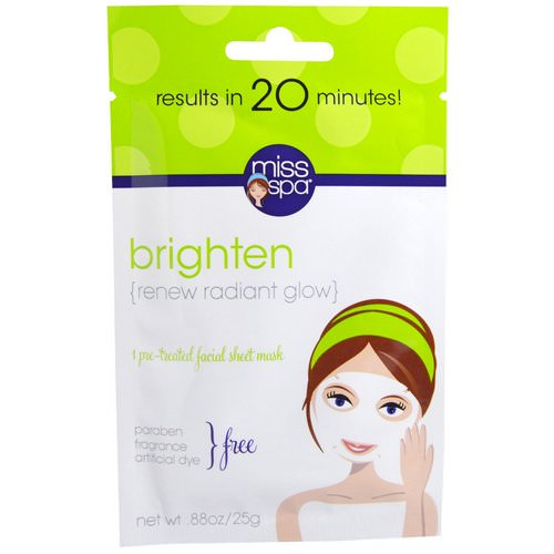 Miss Spa, Brighten, 1 Pre-Treated Facial Sheet Mask, 1 Mask Review