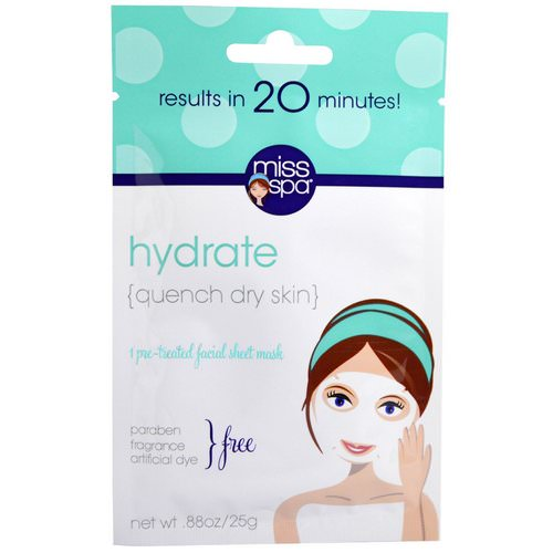 Miss Spa, Hydrate, Pre-Treated Facial Sheet Mask, 1 Mask Review