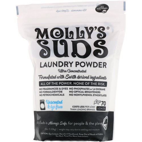 Molly's Suds, Laundry Powder, Ultra Concentrated, Unscented, 70 Loads, 47 oz (1.33 kg) Review