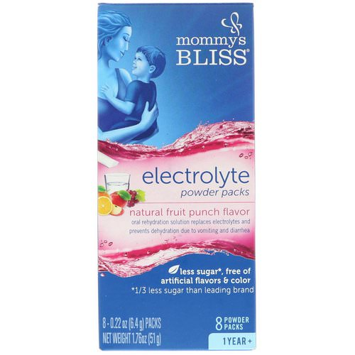 Mommy's Bliss, Electrolyte Powder Packs, Natural Fruit Punch Flavor, 1 Year +, 8 Powder Packs, 0.22 oz (6.4 g) Each Review
