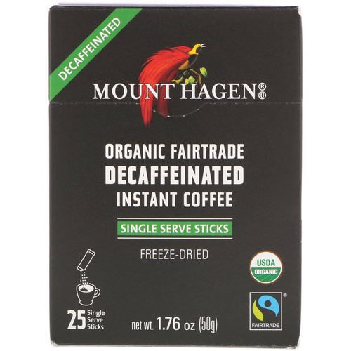 Mount Hagen, Organic Fairtrade Decaffeinated Instant Coffee, 25 Single Serve Sticks, 1.76 oz (50 g) Review