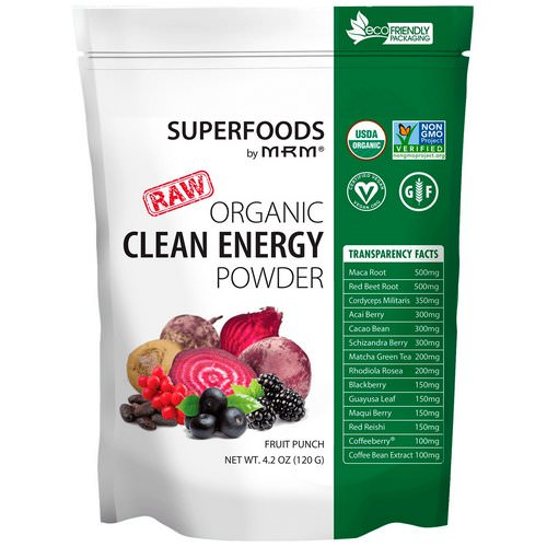 MRM, Organic Clean Energy Powder, Fruit Punch, 4.2 oz (120 g) Review