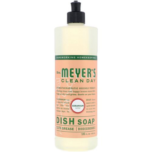 Mrs. Meyers Clean Day, Dish Soap, Geranium Scent, 16 fl oz (473 ml) Review