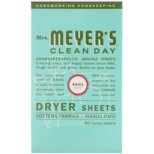 Mrs. Meyers Clean Day, Dryer Sheets, Basil Scent, 80 Sheets Review