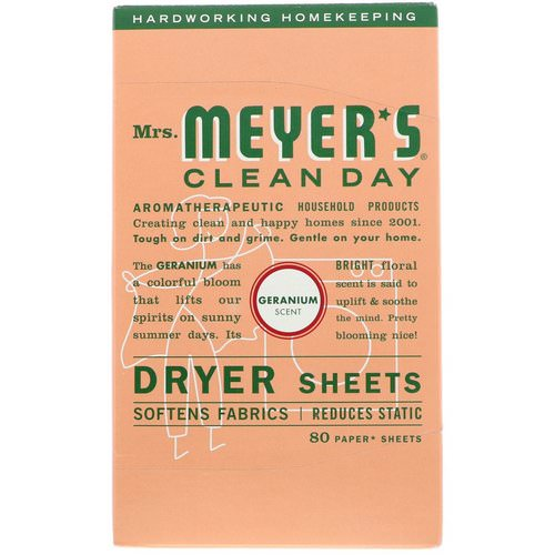 Mrs. Meyers Clean Day, Dryer Sheets, Geranium Scent, 80 Sheets Review
