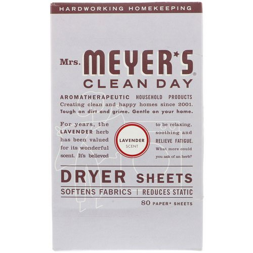 Mrs. Meyers Clean Day, Dryer Sheets, Lavender Scent, 80 Sheets Review