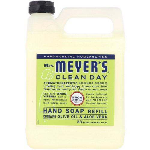 Mrs. Meyers Clean Day, Liquid Hand Soap Refill, Lemon Verbena Scent, 33 fl oz (975 ml) Review