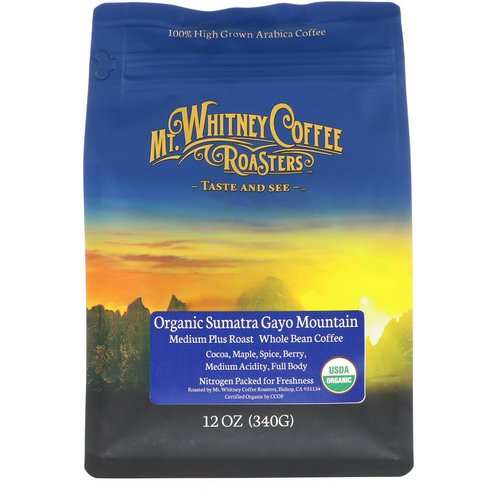 Mt. Whitney Coffee Roasters, Organic Sumatra Gayo Mountain, Medium Plus Roast, Whole Bean Coffee, 12 oz (340 g) Review