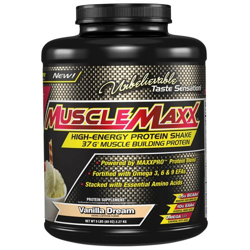 MuscleMaxx, High Energy + Muscle Building Protein, Vanilla Dream, 5 lb (2.27 kg) Review