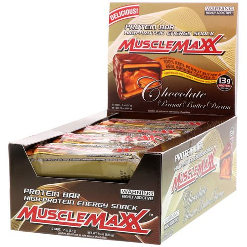 MuscleMaxx, Protein Snackbar, Chocolate Peanut Butter, 12 Bars, 2 oz (57 g) Each Review