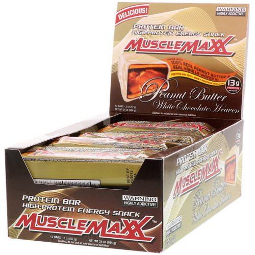 MuscleMaxx, High-Protein Energy Snack, Protein Bar, Peanut Butter White Chocolate Heaven, 12 Bars, 2 oz (57 g) Each Review