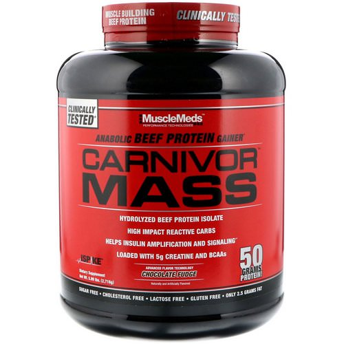 MuscleMeds, Carnivor Mass, Anabolic Beef Protein Gainer, Chocolate Fudge, 5.99 lbs (2,716 g) Review