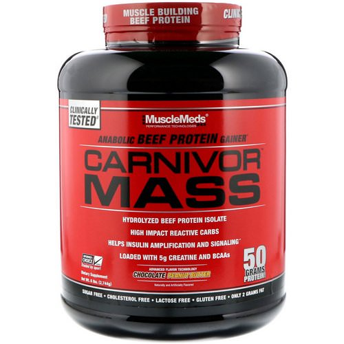 MuscleMeds, Carnivor Mass, Anabolic Beef Protein Gainer, Chocolate Peanut Butter, 6 lbs (2,744 g) Review