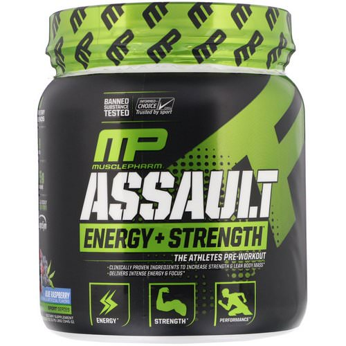 MusclePharm, Assault Energy + Strength, Blue Raspberry, 12.17 oz (345 g) Review