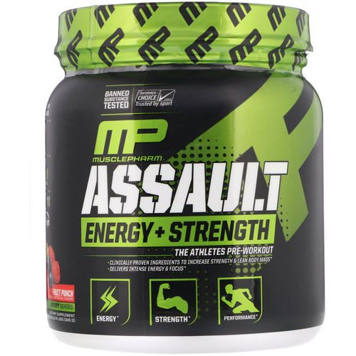 MusclePharm, Assault, Energy + Strength, Pre-Workout, Fruit Punch, 12.17 oz (345 g) Review