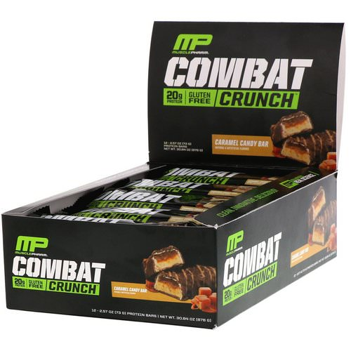 MusclePharm, Combat Crunch, Caramel Candy Bar, 12 Bars, 2.57 oz (73 g) Each Review