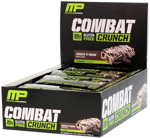 MusclePharm, Combat Crunch, Cookies 'N' Cream, 12 Bars, 2.22 oz oz (63 g) Each Review