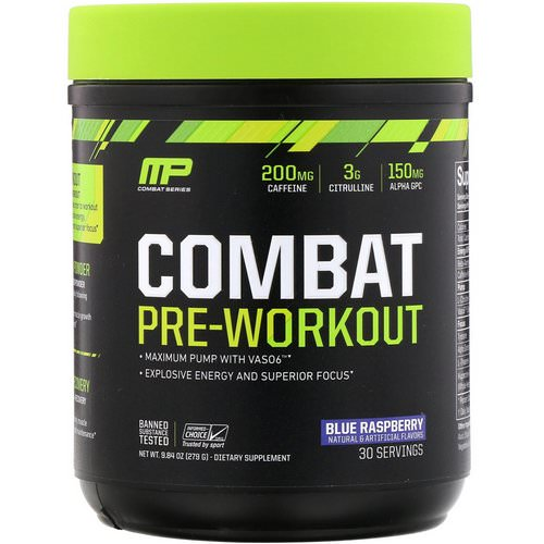 MusclePharm, Combat Pre-Workout, Blue Raspberry, 9.84 oz (279 g) Review