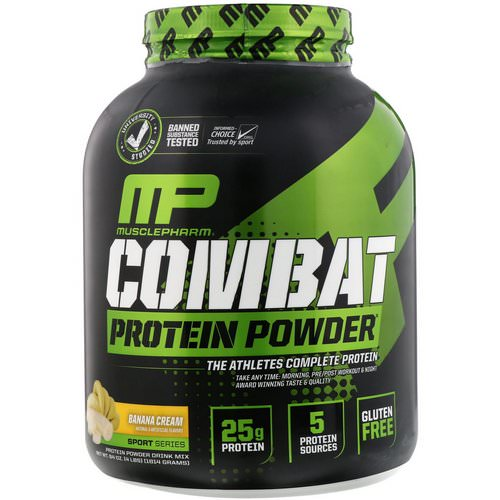 MusclePharm, Combat Protein Powder, Banana Cream, 4 lbs (1814 g) Review