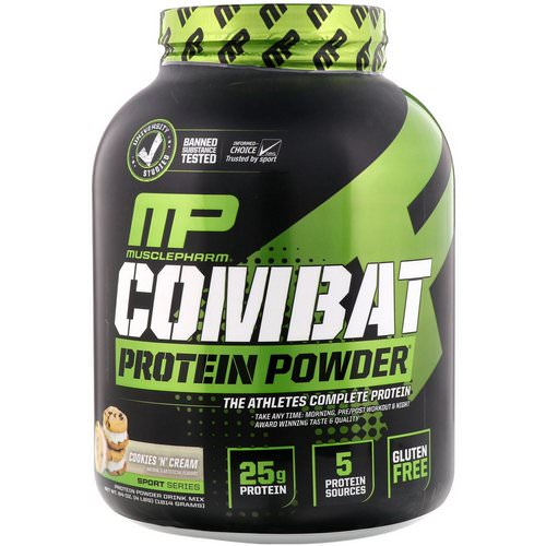 MusclePharm, Combat Protein Powder, Cookies 'N' Cream, 4 lbs (1814 g) Review
