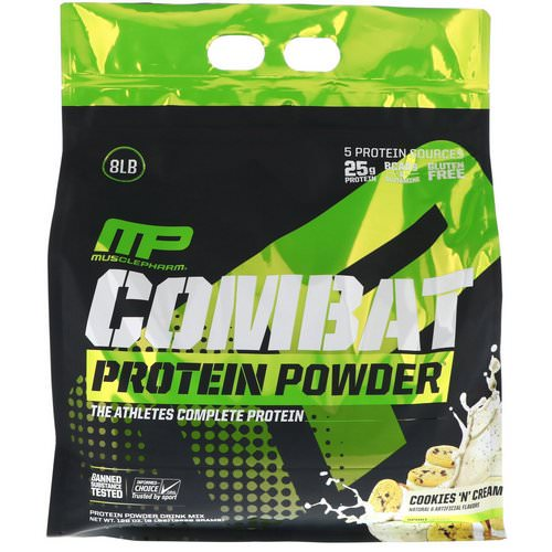 MusclePharm, Combat Protein Powder, Cookies 'N' Cream, 8 lbs (3629 g) Review