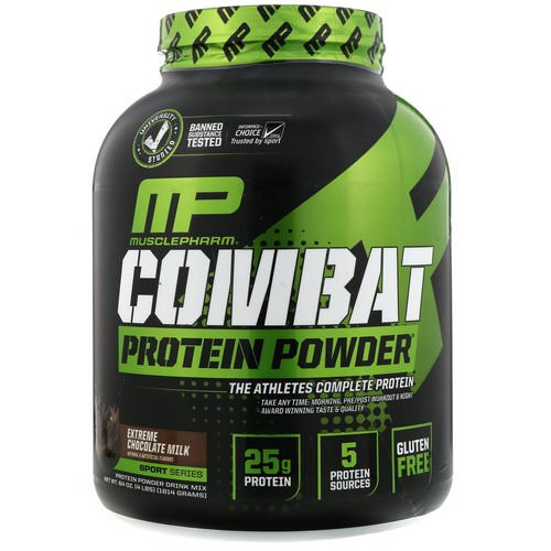 MusclePharm, Combat Protein Powder, Extreme Chocolate Milk, 4 lbs (1814 g) Review
