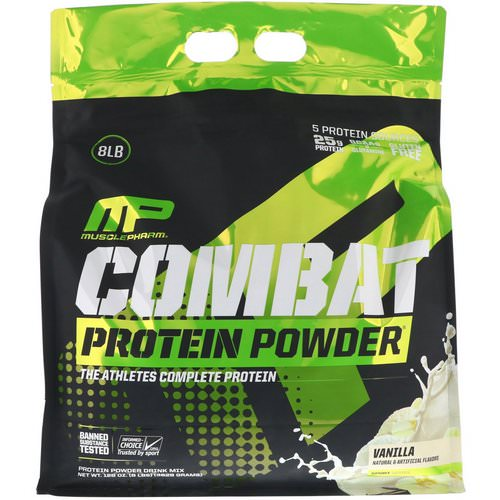 MusclePharm, Combat Protein Powder, Vanilla, 8 lbs (3629 g) Review