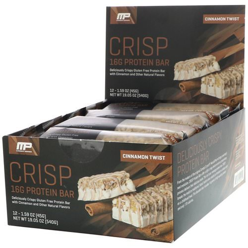 MusclePharm, Combat Series, Crisp Protein Bars, Cinnamon Twist, 12 Bars, 1.59 oz (45 g) Each Review