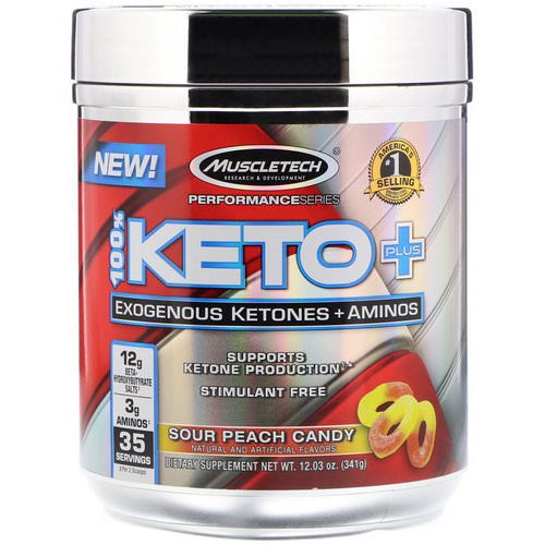 Muscletech, 100% Keto Plus, Exogenous Ketones + Aminos, Sour Peach Candy, 12.03 oz (341 g) Review