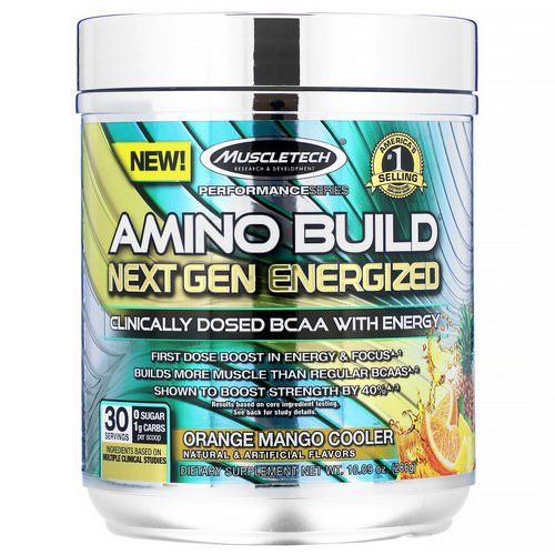 Muscletech, Amino Build, Next Gen Energized BCAA, Orange Mango Cooler, 10.09 oz (286 g) Review