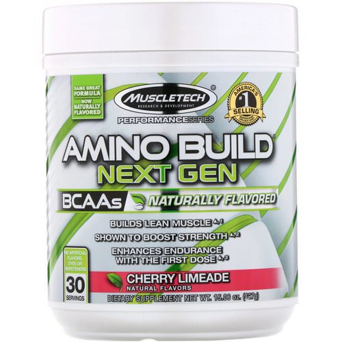 Muscletech, Amino Build, Next Gen BCAAs, Naturally Flavored Cherry Limeade, 15.06 oz (427 g) Review